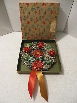 Vintage 9 Inch FLOCKED CHRISTMAS WREATH w/ Ornaments and Ribbons in Very Old Box