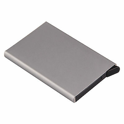 Grey RFID Card Holder Pop Up Aluminium Wallet Men Women ID Protector Slim Purse