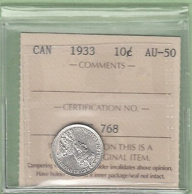 1933 Canadian 10 Cents Silver Coin - ICCS Graded AU-50
