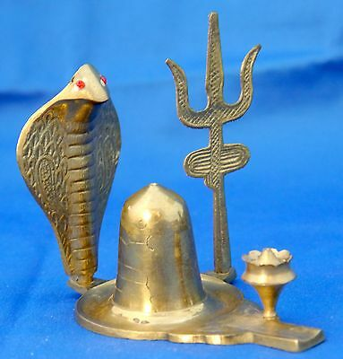 King Cobra Snake Cast Brass Incense Burner with Trishula Trident and Brass Cone