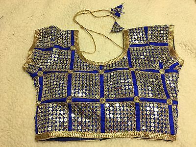 USA - Designer Embroidery Stitched Saree Blouse Silk Cotton Blend Choli 32 Blue