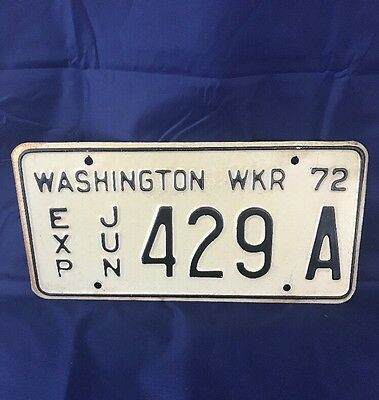 1972 Washington  License Plate Wrecker Plate WASHINGTON WKR 72 429 A