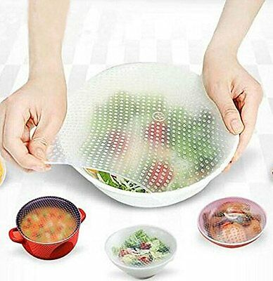 4 X Stretch & Fresh Reusable Food Wraps Silicone NonSlip Covers Keeps Food Fresh