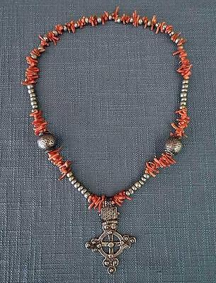 Antique Ethiopian Necklace Silver beads with Coptic Cross pendant And Corals