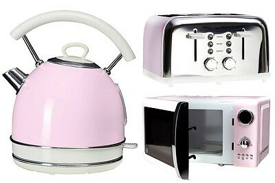 Pastel Pink Kettle 4 Slice Toaster and Microwave Kitchen Vintage Aid Retro Set
