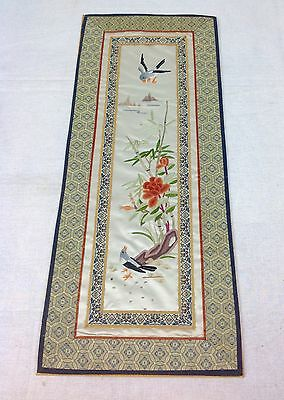 Vintage Chinese Silk Embroidery Picture Of Flowers / Birds