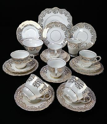 Vintage Royal Stafford Tea Set / Tea Cup Collection Of Six / White And Gold