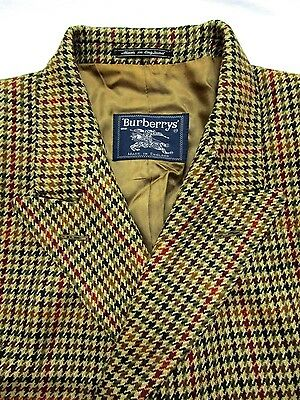 Vtg Women's BURBERRYS 100% Cashmere Tweed Blazer sz 10 (US) 12 (UK) wool plaid