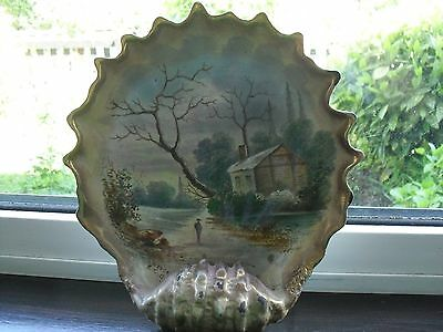 Antique / Vintage Shell Shaped Wall Pocket / Dish, Hand Painted, Signed