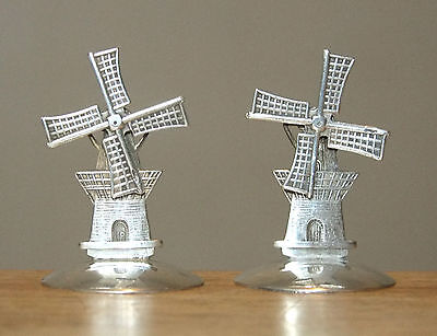 "2 Antique Dutch 833 Sterling Silver 1.5"" Miniature WINDMILLS w/Movable Blades"