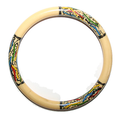 Antique Chinese Hand Painted Bone Bangle Bracelet High Quality and Very Rare