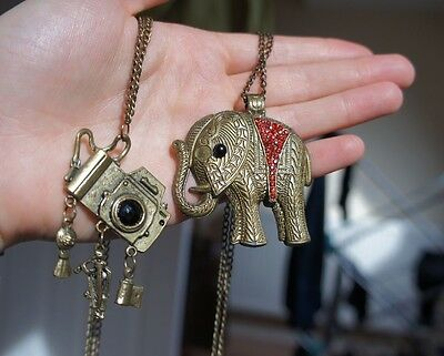 Bronze Plated Elephant Long Drop Pendant Chain Necklace with Red & Black Stones