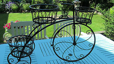 tricycle garden & patio plant pot holder, holds 3 pots, used condition.