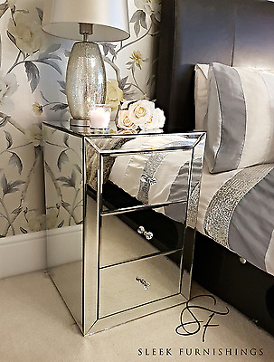 Pair Of Mirrored Bedside Tables Cabinet 3 Drawers Nightstand Side Table Mirror