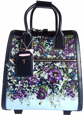 Ted Baker Suitcase Travel Bag Small Navy Blue Floral Gold Detail