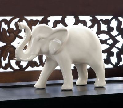 CLASSIC DECORATIVE ELEPHANT STATUE White Ceramic Safari Animal Figurine