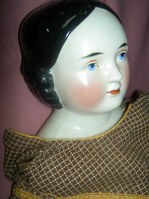 """Charming 22"""", antique German Kestner, COVERED WAGON pink luster china doll, XLNT"""