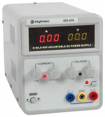 Regulated DC Power Supply with variable output 0-30V/0 - 3A