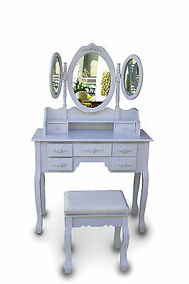 White Dressing Table Vanity Makeup Desk with 7 Drawers, Mirror Set and Stool