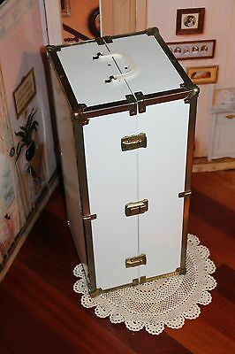 """Sturdy White Metal Trunk for American Girl Doll or Other 18"""" Doll, VGC!"""