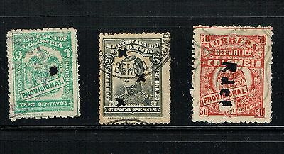 Colombia  1917-21, 3 Perforations,  Punch Outs R De C, Encomiendas Used Vf