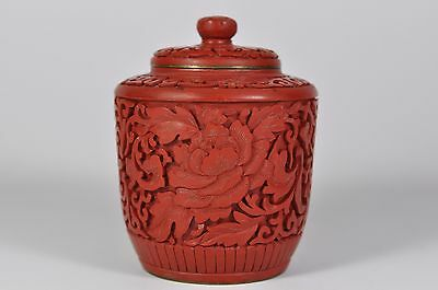Fine Vintage China Chinese Hand Carved Cinnabar Lacquer Tea Caddy Jar Art