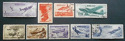 Russia USSR 1946 Military Aircraft, complete set, Zagor. #938-946, used