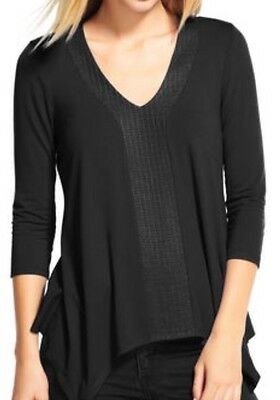 NWT ADRIANNA PAPELL top/tunic 3/4 sleeve V-neck in Black size s