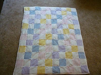 Handmade Pieced Quilt Comforter Gingham White Cotton Backing Baby Toddler