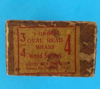"144 Vintage #4 -- 3/4"" Oval Head Brass Slotted Wood Screws NOS Box"