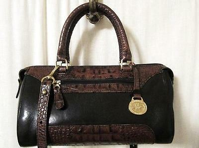 Vintage Brahmin Tusca Black/brown Leather Satch/cross-Body Handbag