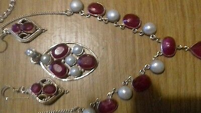 ruby and pearl necklace, pendant and earrings