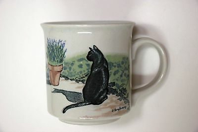 VINTAGE OTAGIRI MUG * 'Creative Collection' * BLACK CAT IN THE GARDEN  * Japan