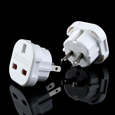2 x UK TO USA US AMERICA AUSTRALIA NEW ZEALAND TOURIST TRAVEL PLUG POWER ADAPTOR