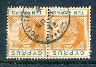 Cyprus 1904-10 used pair of 10pa cancelled Polis (2017/06/15#10)