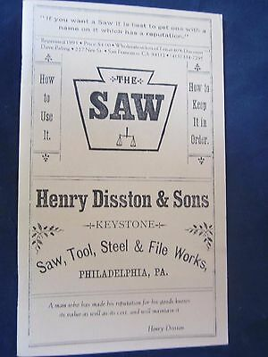 Henry Disston & Sons 1887 Saw Tool Catalog Antique Tool Book