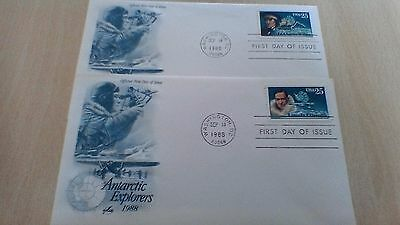 1988 Usa Antarctic Explorers First Day Covers (2)