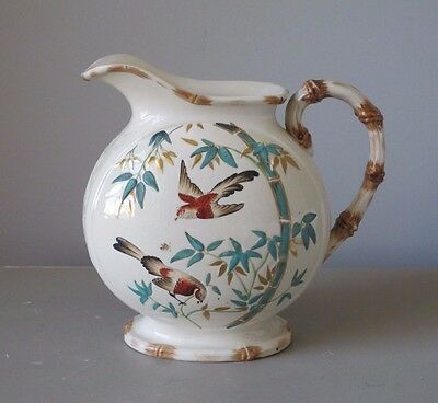 Antique Copeland Aesthetic Movement Asian Style Pitcher Faux Bamboo Handle
