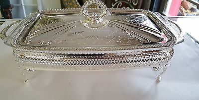 Vintage Mayell Bright Silver FP on Steel Oblong Serving Dish Arcuisine England