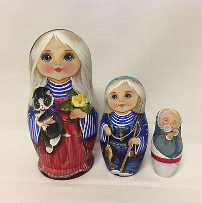 Matryoshka Russian Wooden Nesting Dolls - 3 Pieces Unique Coloring Set #10