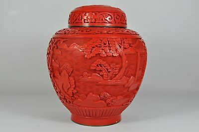 Fine Vintage China Chinese Hand Carved Cinnabar Lacquer Ginger Jar Scholar Art