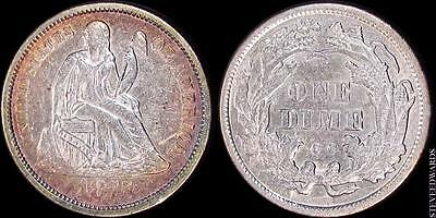 1875-CC Liberty Seated Dime ** AU ** < Carson City Seated Dime >