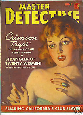 Master Detective Magazine June 1938 Strangler of 20 women Vintage True Crime