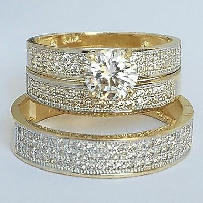 2.50 carat Round Trio 3 Piece 14K yellow Gold Engagement Wedding Band Ring Set