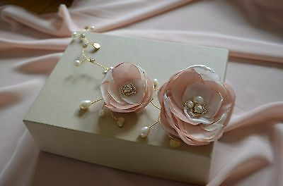 Gold hair vine bridal hair flowers wedding hairpiece pink ivory flower headpiece