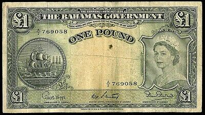 (1953) THE BAHAMAS GOVERNMENT ONE POUND QUEEN ELIZABETH II NOTE KP #15b
