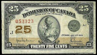 1923 DOMINION OF CANADA 25 CENTS BANK NOTE VERY FINE CONDITION KP # 11a