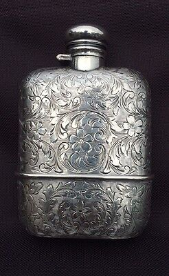 Antique Glass/ Sterling Flask Beautifully Hand Engraved Flowers No Monogram