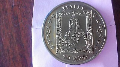 1997 Italia 20 Euro Gold Coloured Coin Commemorating Leonardo Da Vinci