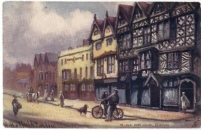 OLD POSTCARD - YE OLD HIGH HOUSE - STAFFORD C.1915 (from an original painting)